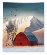 Red Barn Snow Western - Countryside Painting Fleece Blanket