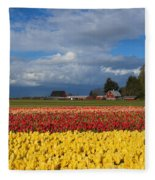 Red Barn Tulip Farm Fleece Blanket