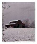 Red Barn Under Snow Fleece Blanket