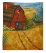 Red Barn- Wheat Field- Down Home Fleece Blanket