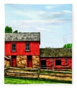 Red Barn With Fence Fleece Blanket