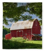 Red Barn With White Arched Door Trim Fleece Blanket