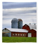 Red Barns Of 3 Fleece Blanket