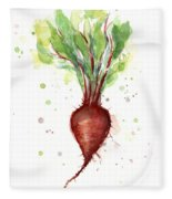 Red Beet Watercolor Fleece Blanket