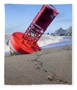 Red Bell Buoy On Beach With Bottle Fleece Blanket
