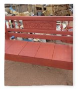 Red Bench Fleece Blanket