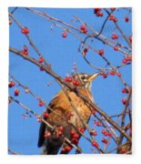 Red Berry Robin Fleece Blanket
