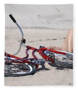 Red Bike On The Beach Fleece Blanket