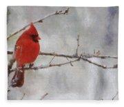 Red Bird Of Winter Fleece Blanket