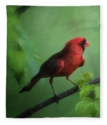 Red Bird On A Hot Day Fleece Blanket
