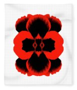 Red Black Botanical Summer Fleece Blanket