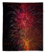 Red Blazing Fireworks Fleece Blanket