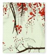 Red Blossom Tree On Handmade Paper Fleece Blanket