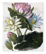 Red, Blue, And White Lotus Flowers Fleece Blanket
