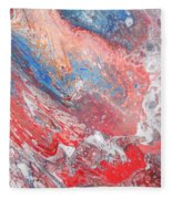 Red Blue White Abstract Fleece Blanket