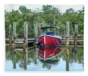 Red Boat Docked Florida Fleece Blanket