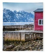 Red Boathouse In Norris Point, Newfoundland Fleece Blanket