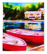 Red Boats At The Lake Fleece Blanket