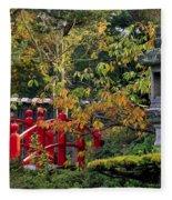 Red Bridge & Japanese Lantern, Autumn Fleece Blanket