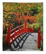 Red Bridge With Shadows Fleece Blanket