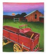 Red Buckboard Wagon Fleece Blanket