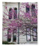 Red Buds And San Antonio City Hall Fleece Blanket