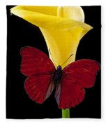 Red Butterfly And Calla Lily Fleece Blanket