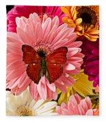 Red Butterfly On Bunch Of Flowers Fleece Blanket