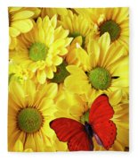Red Butterfly On Yellow Mums Fleece Blanket