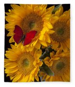 Red Butterfly With Four Sunflowers Fleece Blanket