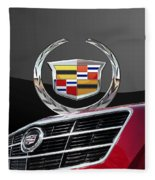 Red Cadillac C T S - Front Grill Ornament And 3d Badge On Black Fleece Blanket