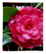 Red Camellia Fleece Blanket
