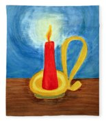 Red Candle Lighting Up The Dark Blue Night. Fleece Blanket
