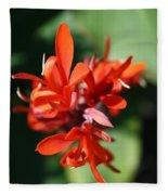 Red Canna Flower Fleece Blanket