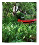 Red Canoe In The Adk Fleece Blanket