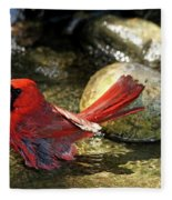 Red Cardinal Bathing Fleece Blanket