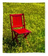 Red Chair Amoung Wildflowers Fleece Blanket