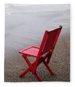 Red Chair On The Beach Fleece Blanket