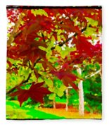 Red Chinese Maple Leaf's Fleece Blanket