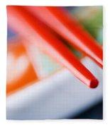Red Chopsticks Fleece Blanket