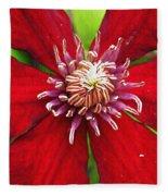 Red Clematis Fleece Blanket