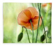 Red Corn Poppy Flowers 02 Fleece Blanket