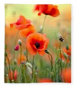 Red Corn Poppy Flowers 06 Fleece Blanket