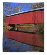 Red Covered Bridge And Reflection Fleece Blanket