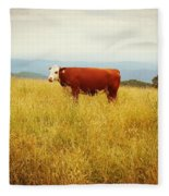 Red Cow On The Blue Ridge Fleece Blanket