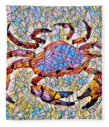 Red Crab Stained Glass Fleece Blanket