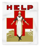 Red Cross Nurse - Help Fleece Blanket