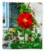 Red Dahlia By Window Fleece Blanket