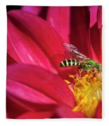 Red Dahlia With Wasp Fleece Blanket