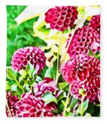 Red Dahlias Fleece Blanket